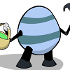 Egg-o-tron robot, from Brain Comics #17. 2007. A large Easter-egg shaped robot wielding a hammer and an easter basket.