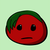 Emo Tomato. 2007. A simple cartoon tomato with green leaves formed into hair, with one lock hanging down past eye-length on one side, and a frowny face.