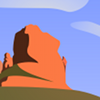 """Old Man"". 2007. Vector depiction of a set of orange-red cliffs in profile against a blue sky with clouds. One cliff in particular, the one on the end, stands tall and proud."